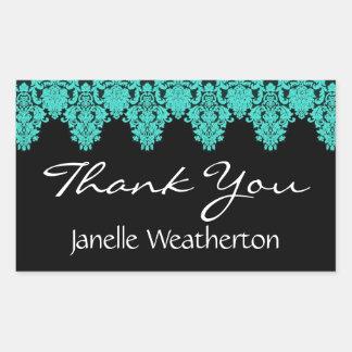 Teal Damask Lace Bridal Shower Thank You V2 Sticker