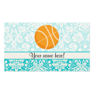Teal Damask Patten Basketball Double-Sided Standard Business Cards (Pack Of 100)