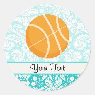Teal Damask Patten Basketball Round Stickers