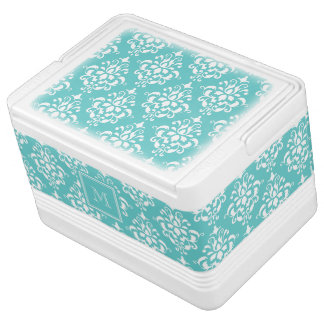 Teal Damask Pattern 1 with Monogram Igloo Cooler
