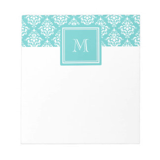 Teal Damask Pattern 1 with Monogram Notepad