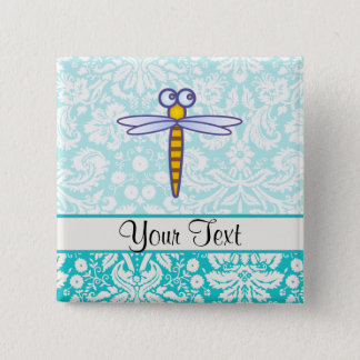 Teal Damask Pattern Dragonfly 15 Cm Square Badge