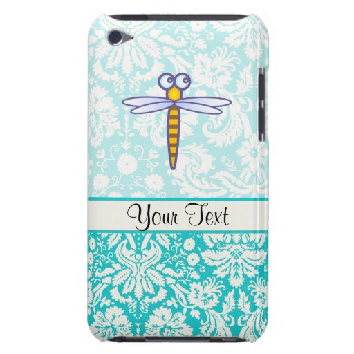 Teal Damask Pattern Dragonfly Barely There iPod Cover