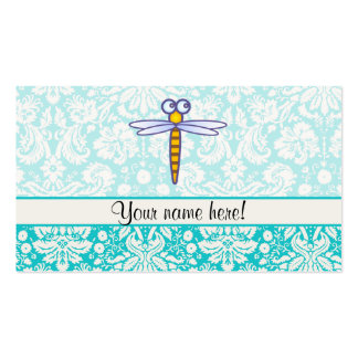 Teal Damask Pattern Dragonfly Pack Of Standard Business Cards