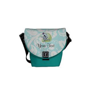 Teal Damask Pattern Fencing Messenger Bag
