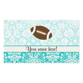 Teal Damask Pattern Football Double-Sided Standard Business Cards (Pack Of 100)