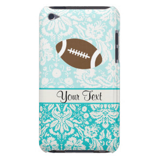 Teal Damask Pattern Football iPod Case-Mate Cases