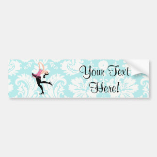 Teal Damask Pattern Ice Skating Bumper Stickers