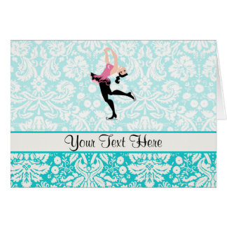 Teal Damask Pattern Ice Skating Card