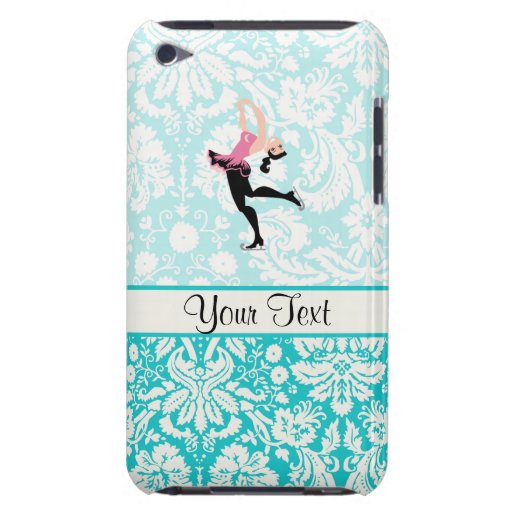 Teal Damask Pattern Ice Skating iPod Touch Covers