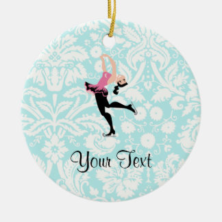 Teal Damask Pattern Ice Skating Christmas Ornament