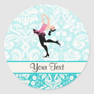 Teal Damask Pattern Ice Skating Classic Round Sticker