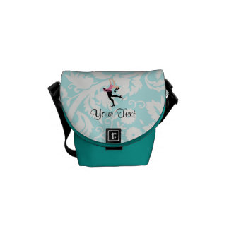Teal Damask Pattern Ice Skating Commuter Bags