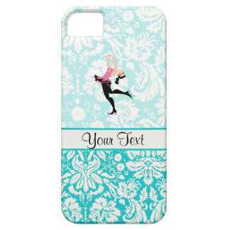 Teal Damask Pattern Ice Skating iPhone 5 Covers