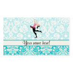 Teal Damask Pattern Ice Skating Pack Of Standard Business Cards