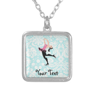 Teal Damask Pattern Ice Skating Silver Plated Necklace