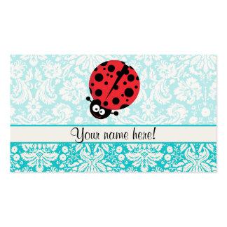 Teal Damask Pattern Ladybug Business Card