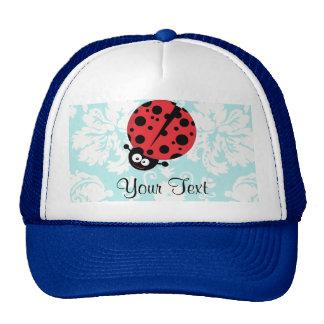 Teal Damask Pattern Ladybug Mesh Hats