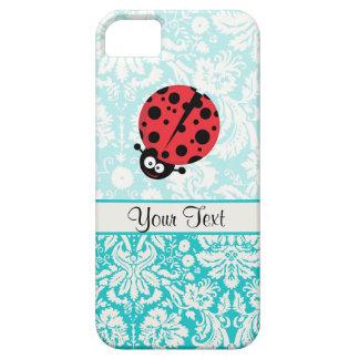 Teal Damask Pattern Ladybug iPhone 5 Cases