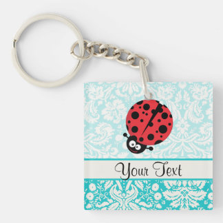 Teal Damask Pattern Ladybug Acrylic Keychain