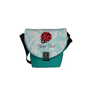 Teal Damask Pattern Ladybug Courier Bag