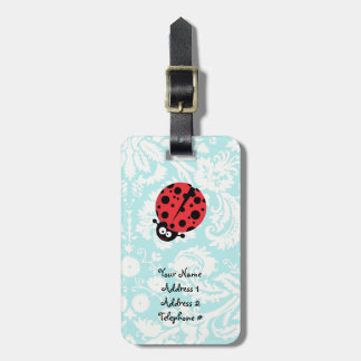 Teal Damask Pattern Ladybug Travel Bag Tags