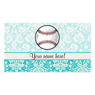 Teal Damask Pattern Softball Business Cards