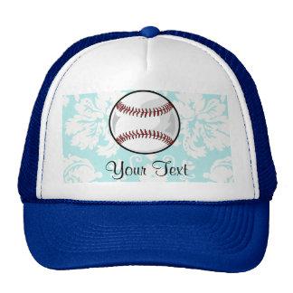 Teal Damask Pattern Softball Cap