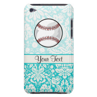 Teal Damask Pattern Softball iPod Touch Case-Mate Case