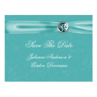 Teal Damask Ribbon Jewels Save The Date Postcard