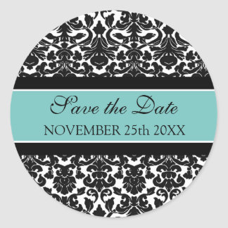 Teal Damask Save the Date Envelope Seal Round Sticker