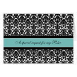 Teal Damask Sister Maid of Honour Invitation Greeting Card