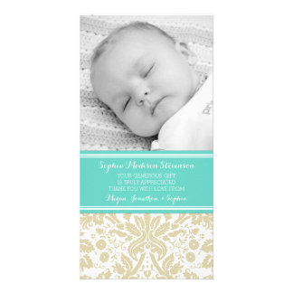 Teal Damask Thank You Baby Shower Photo Cards