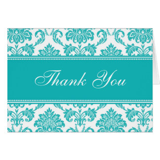 Teal Damask Thank You Cards