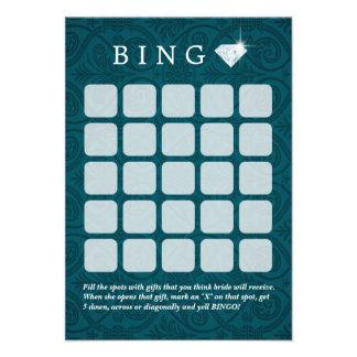 Teal Damask Wedding Bridal Shower Bingo Cards