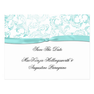 Teal Damask With Teal Ribbon Save The Date Postcard