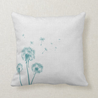 Teal Dandelion Throw Pillow