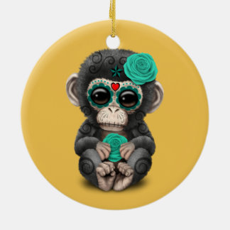 Teal Day of the Dead Sugar Skull Baby Chimp Christmas Ornament