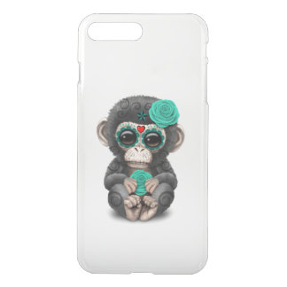 Teal Day of the Dead Sugar Skull Baby Chimp iPhone 7 Plus Case