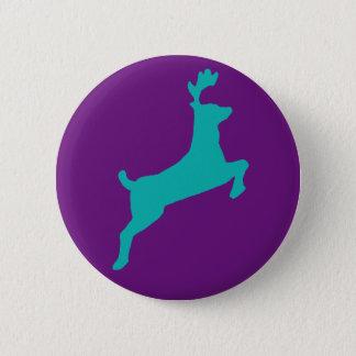 Teal deer 6 cm round badge