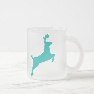 Teal deer frosted glass mug