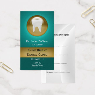Teal Dental businesscards with appointment card