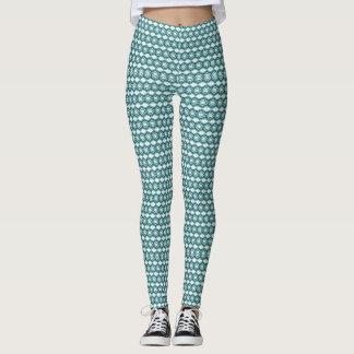 Teal Diamond Pattern Leggings