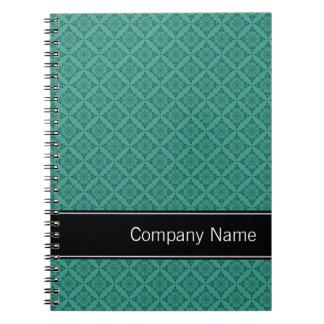 Teal Diamonds Pattern Personalized Spiral Notebooks