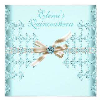 Teal Diamonds Teal Blue Quinceanera 13 Cm X 13 Cm Square Invitation Card