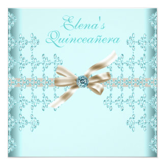 Teal Diamonds Teal Blue Quinceanera Card