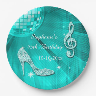 Teal Disco Ball and Heels 45th Birthday 9 Inch Paper Plate