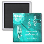 Teal Disco Ball and Retro Microphone 21st Birthday Square Magnet