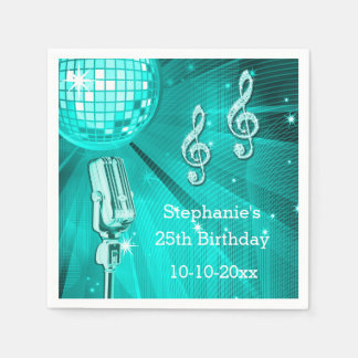 Teal Disco Ball and Retro Microphone 25th Birthday Paper Napkins