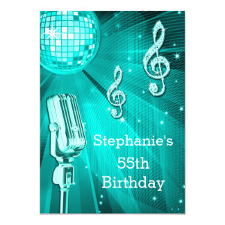 Teal Disco Ball and Retro Microphone 55th Birthday Card